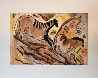 Watercolor of Lascaux / Rock Art / paintings of Lascaux / watercolor prehistory / prehistoric horses / rock watercolor.
