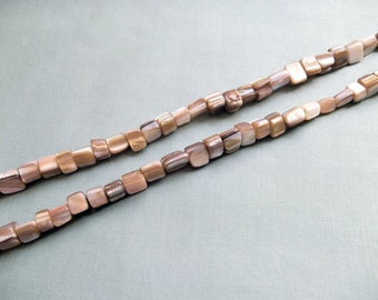 Full strand (69 pcs) mother of pearl nuggets beads +/- 6 mm