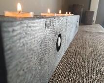 Rustic Weathered Solid Cedar Centerpiece Candle Holder - Farmhouse Style - Natural Cedar, Dark Walnut, Reclaimed/Grey, Dining Table & Buffet