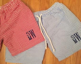 Baby or Toddler boys monogrammed swim suit
