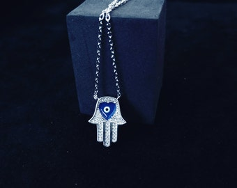 Hamsa Evil Eye Necklace 925 Sterling Silver,  Hand of Fatima Womens Girls Kabbalah Jewelry, 925 Silver Hamsa Necklace