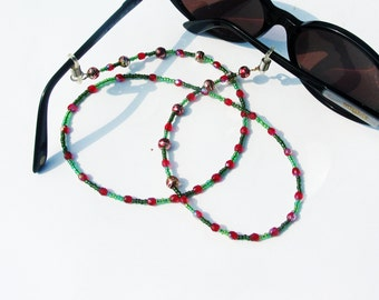 Cord sunglasses beads red and green jewel for glasses, Attaché-eyeglasses, eyeglass chain