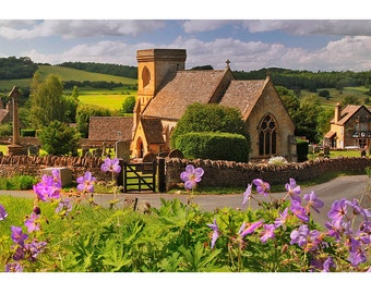 Cotswolds, England, Village, Church, Countryside, Gallery-wrapped Fine Art Photograph on Canvas, Metal, Picture, Ready to Hang Wall Art