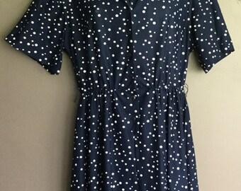 PLUS SIZE Vintage 1940's Navy Blue Polkadot Day Dress