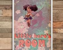Wonderwooman wall art print home decor minimalist Poster birthday gift wedding baner party decoration nursery decal baby girl