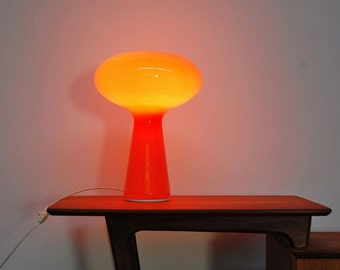 MAZZEGA Mushroom lamp orange blown glass 60s space age