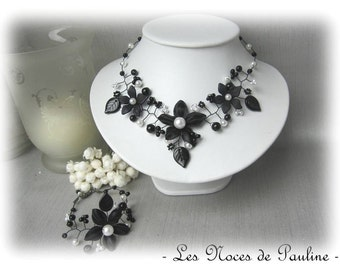 Ornament black and white wedding flowers Tatiana 3 parts
