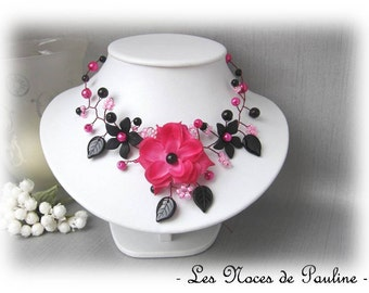Necklace wedding fuchsia and black flowered Tatiana b