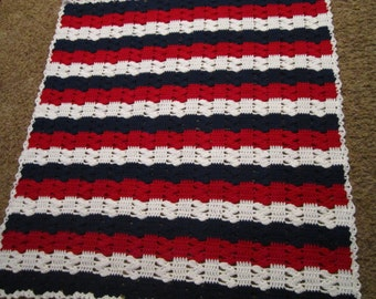 Crocheted Throw - Red, White and Blue