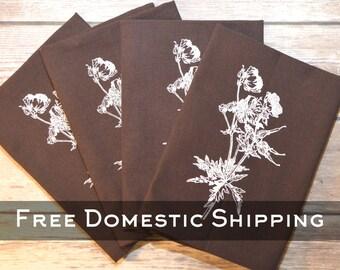Brown Floral Print Napkin - Set of 4