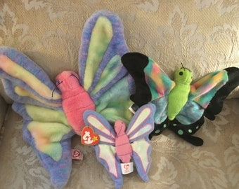 TY butterfly trio Flitter the beanie buddy and Float the beanie baby