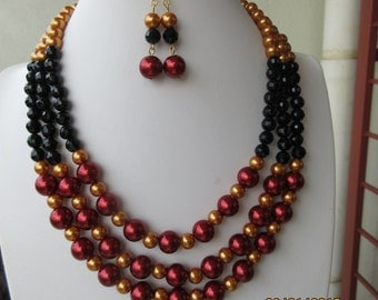 015 Burgundy  and Gold 18inch  Necklace