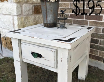 Gorgeous White Distressed Antiqued Night Stand/End Table (Local purchases only)