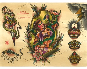Tattoo Flash SNAKES Julien BRUNIER CHARMEUSE