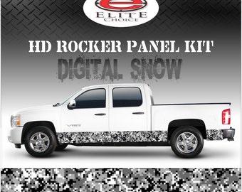 "Digital Snow Camo Rocker Panel Graphic Decal Wrap Truck SUV - 12"" x 24FT"