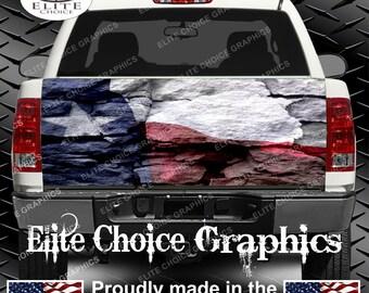 Texas Flag Rocks Truck Tailgate Wrap Vinyl Graphic Decal Sticker Wrap