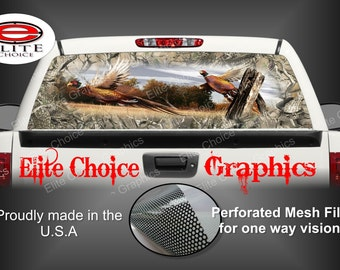 Ringneck Pheasant Obliteration Skull Camo Rear Window Graphic Tint Decal Sticker Truck SUV Van Car