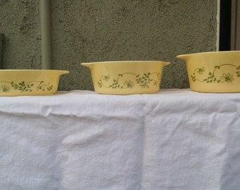 "Three Vintage Pyrex ""Shenandoah"" Pattern Casseroles"