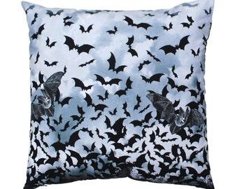 Bat Pillow Cover, Bat Throw Pillow, Bat Pillow, Bat Cushion, Gothic Bat Pillow, Gothic Pillow, Gothic Cushion, Gothic Decor, Bat Swarm, Bat