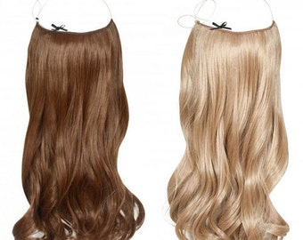 """Halo Hair Extensions 100% Human Remy natural hair. 55 cm long. 22"""". 100 grms."""