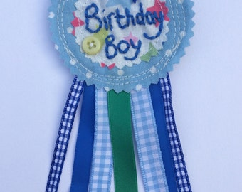 Birthday boy badge rosette. Handmade blue polka dot stars hand embroidery, keepsake
