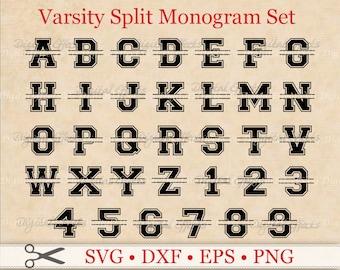 VARSITY SPLIT MONOGRAM Svg, Dxf, Eps, Png Files,  Varsity Split Alphabet Digital, Silhouette Studio, Split Monogram Svg, Cut Files, Cricut