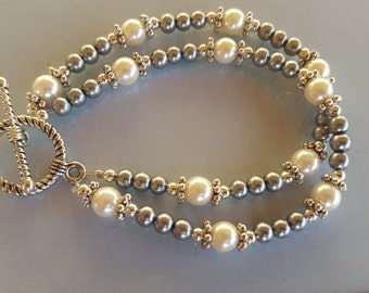 Beautiful Double Beaded Faux Pearl Bracelet
