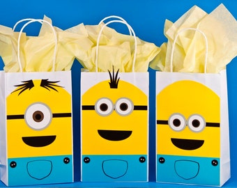 Minions Decorations - Minions Birthday - Minion Party Bags - Minion Goody Bags-Minion Treat Bags-Minion Gift Bags-Thank You Bags-Set Of 12.