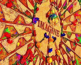 Imagine, Photography color , John Lennon,home decor, New York City, Central Park, Imagine (John Lennon Tribute)