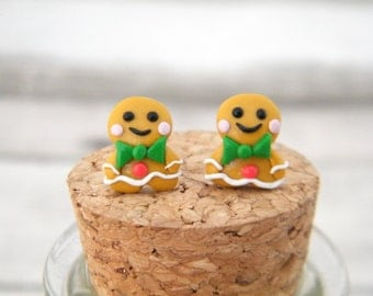 Gingerbread Man Stud Earrings - Polymer Clay Gingerbread Man Stud Earrings, Clay Christmas, Gingerbread Man, Christmas Earrings