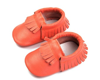 Red genuine leather moccasins