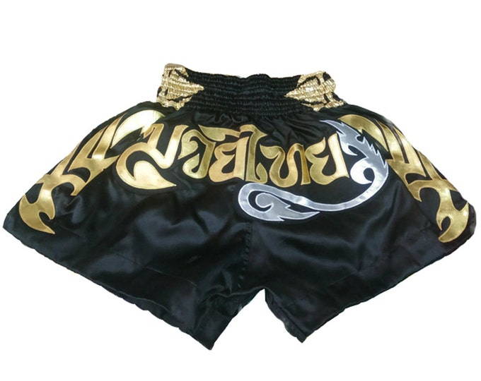 Muay Thailand Boxing Shorts for Training and Sparring Boxing Trunks Martial Arts - BLACK