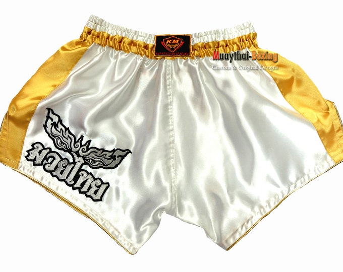 Katemanee Muay Thai Boxing Shorts Low-Waist Fit Retro Style - WHITE/GOLD