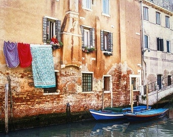 Venice Italy Canal, Hanging Wash, Boats In Canal, Textured Buildings, Woman In Window, Wall Decor