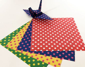 Origami Paper Sheets - Double-sided Dots and Stripes Chiyogami Paper - 80 sheets