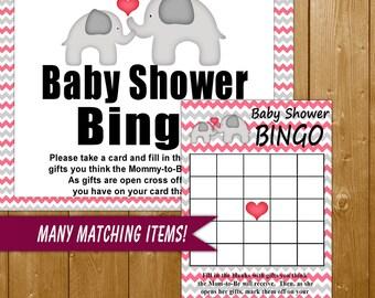 Elephant Baby Shower Bingo Game, Pink Bingo Game with Sign, Elephant Shower Games in Pink, Baby Shower Game Printable Instant Download