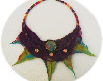 hand felted necklace purple Green