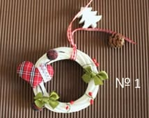 Mini Wreath  for  Xmas,  Christmas decoration , wreath made of rattan, PERFECT GIFT, handmade decoration; deer, cones, bell ribbon,heart