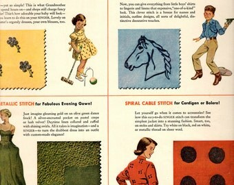 """1950s Singer Sewing Centers vintage magazine ad """"Make the singer sewing center your fashion headquarters"""""""