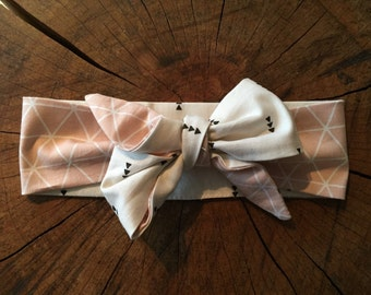 old geometric patterned baby headband Pink White reversible