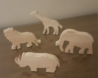 Wooden Safari Animal Toys (set of 4) FREE SHIPPING