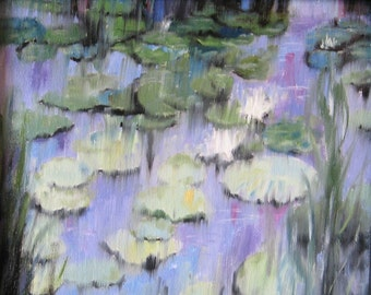 "Lily Pads Original Oil Painting 8""x10"" Handmade Artwork Impressionism One of A Kind Art Pond Water Signed with Certificate of Authenticity"