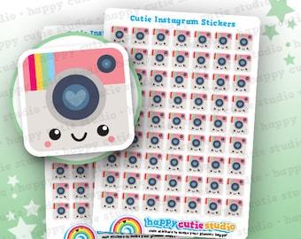 63 Cute Instagram/Social Media/Photography/Camera Stickers, Filofax, Erin Condren, Happy Planner,  Kawaii, Cute Sticker, UK