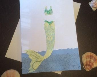 Beautiful mermaid greeting card