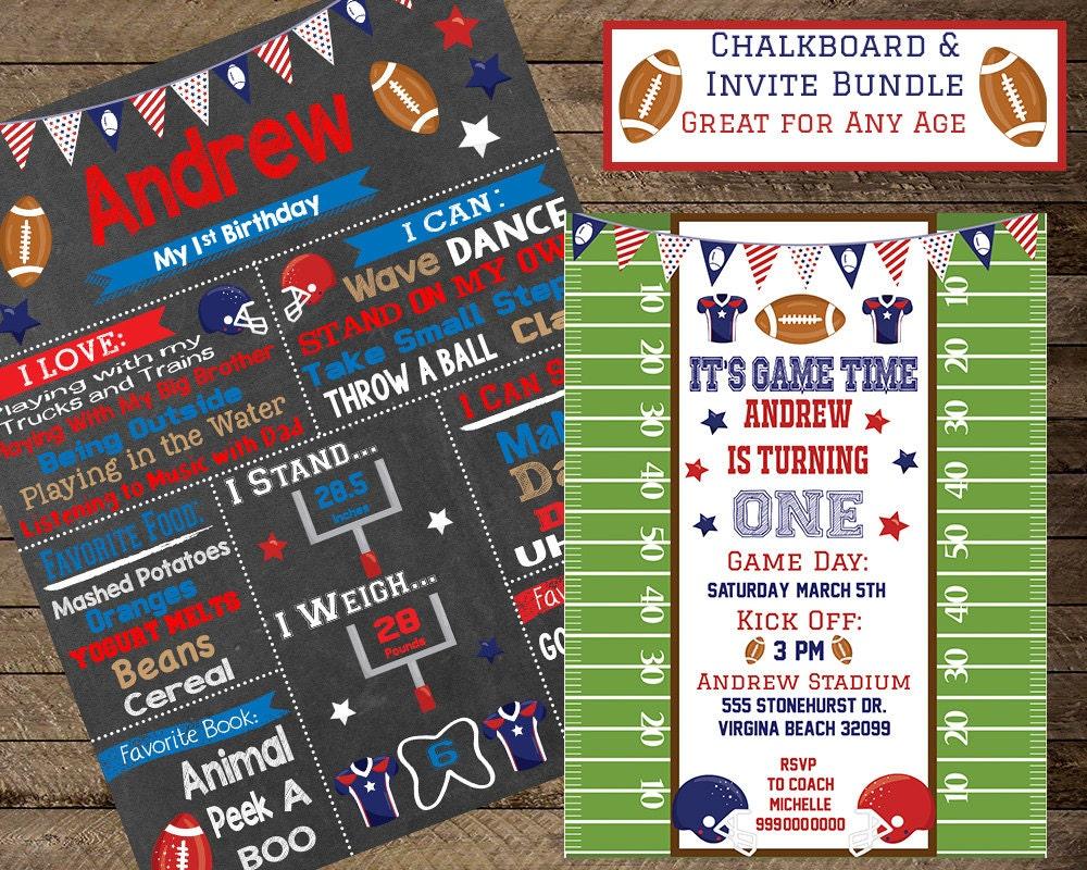 Football invite, football chalkboard, boys birthday chalkboard, boys ...