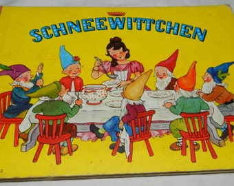 Vintage German Storybook - retelling of Snow White + 7 dwarfes - Schneewittchen