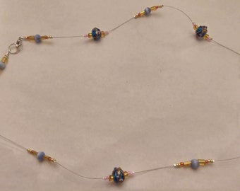 Blue/gold/pink beaded necklace