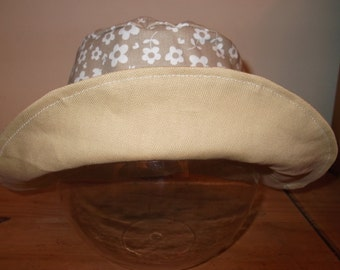 Reversible Sun Hat - ]floral - Age 6 to 8