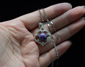 4.4 gram Purple Gemstone Pendant Silver Frame and Silver Chain Healing Reiki Spiritual High Energy