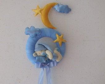 stitchable blue sleeping bear
